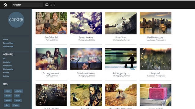 Free Portfolio WordPress Themes Gridster