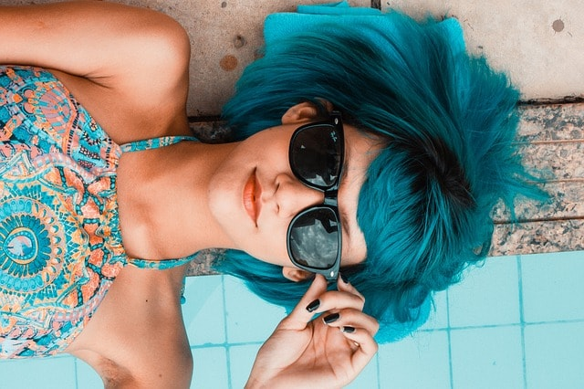 Get Online Woman Blue Hair Sunglasses Relaxing