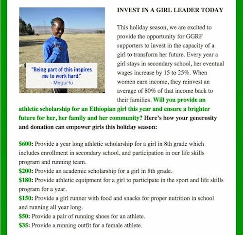 Giving Tuesday Girls Gotta Run Foundation
