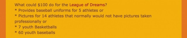 Giving Tuesday League of Dreams