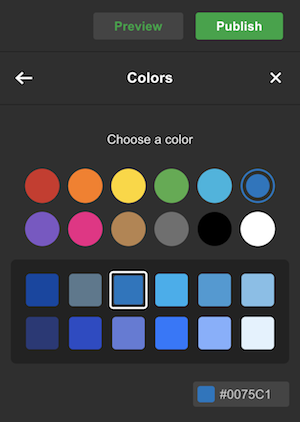 color picker in GoCentral website builder