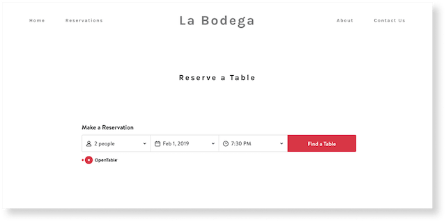 GoCentral OpenTable Reserve a table on restaurant reservations page