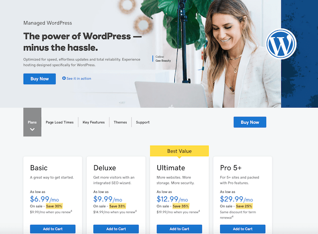 GoDaddy CMS Managed WordPress Hosting Plans