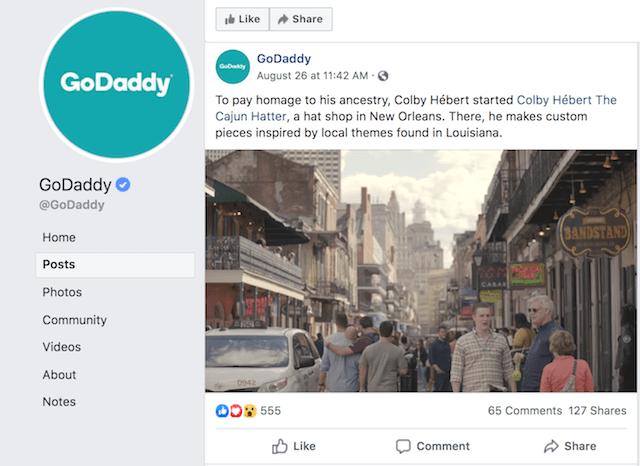 GoDaddy Facebook Post