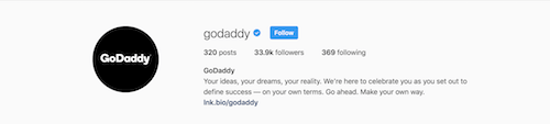 GoDaddy Instagram Bio