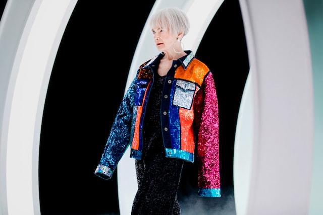 GoDaddy Lyn Slater Modeling Colorful Sequin Jacket