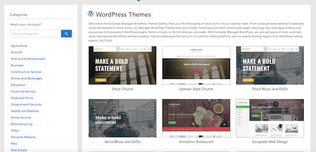 GoDaddy Managed WordPress Themes