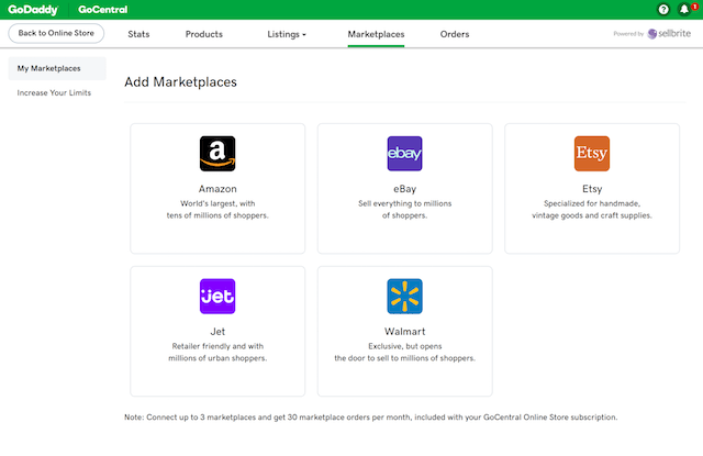 GoDaddy Marketplace Selling Add Marketplaces Online Store