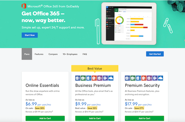 GoDaddy Office 365 Plans