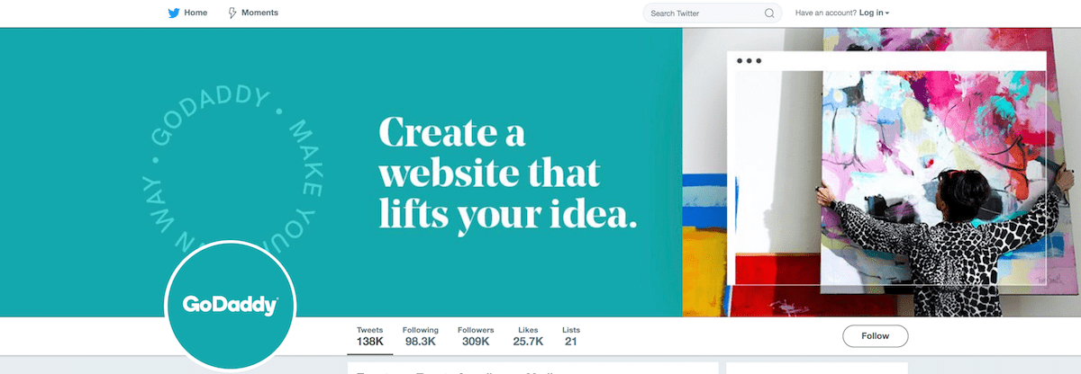 GoDaddy Twitter Homepage Shows Hero Image and Logo