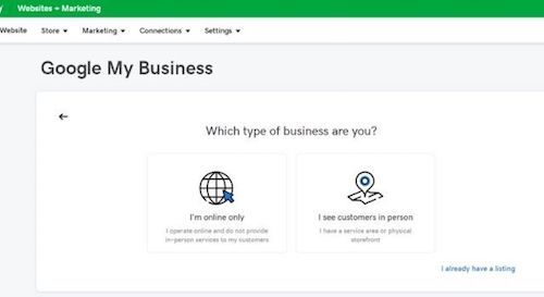 GoDaddy Website Builder Google My Business Setup Page