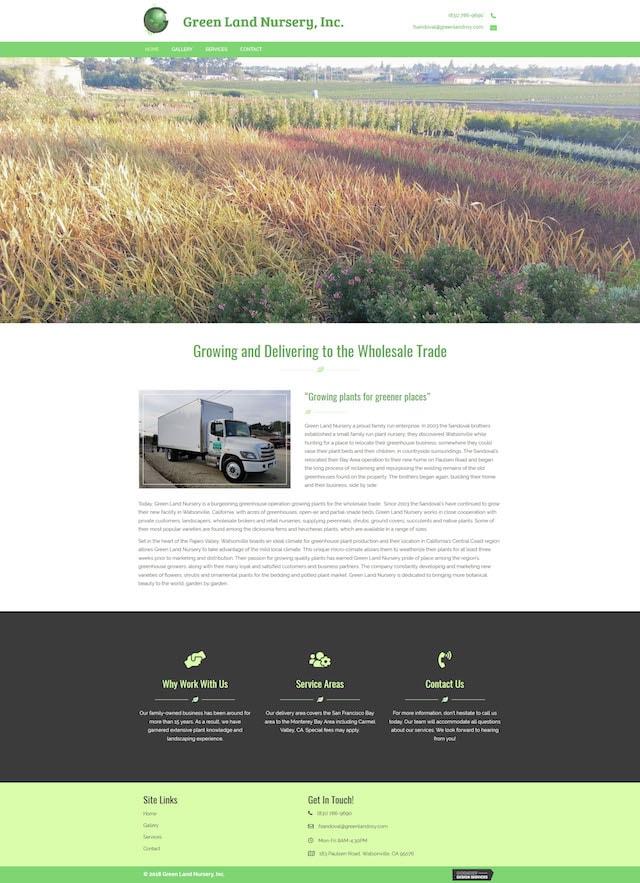 GoDaddy Website Design Example Green Land Nursery