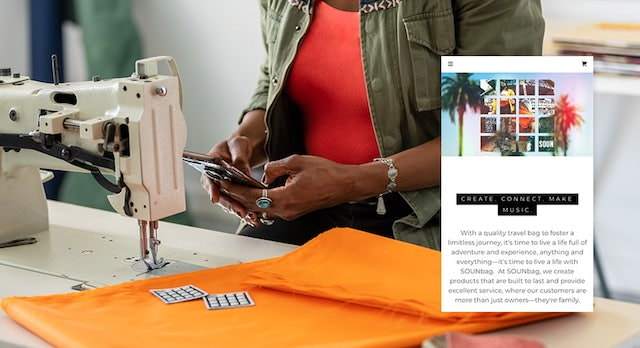 GoDaddy Websites Marketing Danielle Smith Sounbag Mobile Screenshot at Sewing Machine