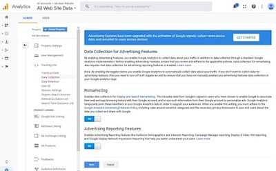 Google Analytics Data Collection For Advertising Features