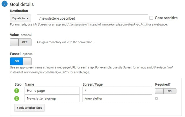 Google Analytics Funnels Details