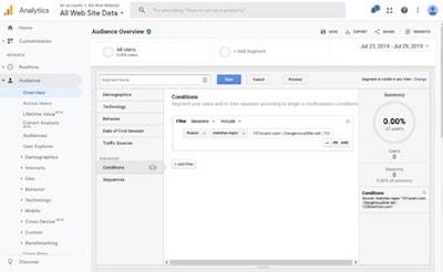 Google Analytics Ghost Referrals Segmentation