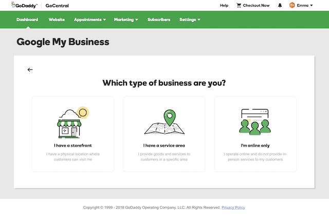 screenshot of Google My Business tool in GoDaddy GoCentral