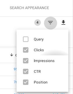 Google Search Console Filter