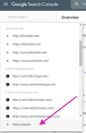 Google Search Console WordPress Add New Property