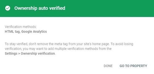 Google Search Console WordPress Ownership Auto Verified