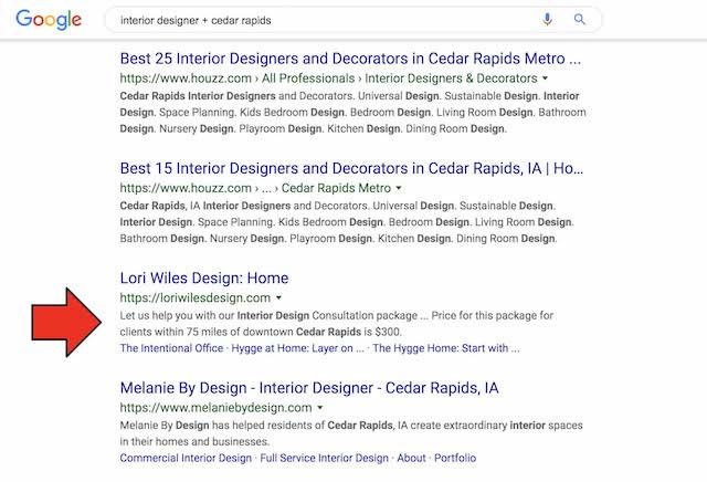 Google Search Results Interior Designer Cedar Rapids