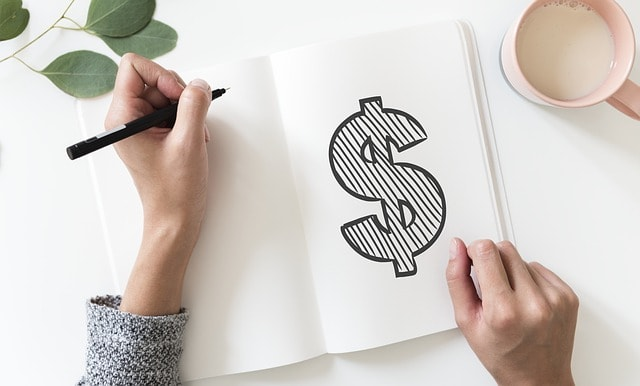 Hand Drawn Dollar Sign in Notebook