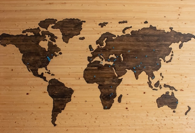 Home Business Ideas Wood Map of World with Pins in Cities
