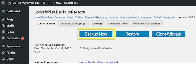 Backup Screenshot in UpdraftPlus