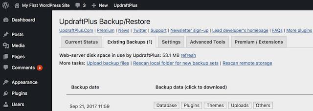 Updraft Backup/Restore Backup List