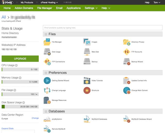 GoDaddy WordPress Hosting Admin Options