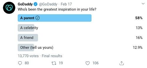 Capture d'écran de l'exemple de sondage Twitter de GoDaddy