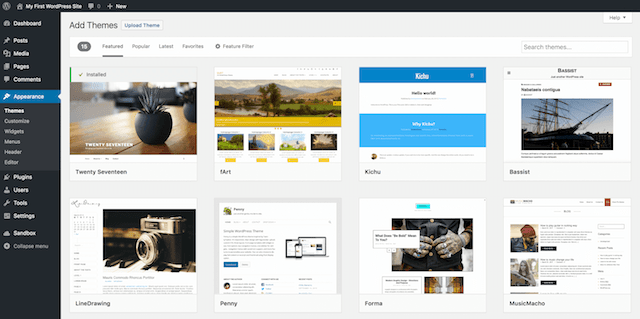 Elenco dei temi di WordPress nel pannello di amministrazione dell'utente