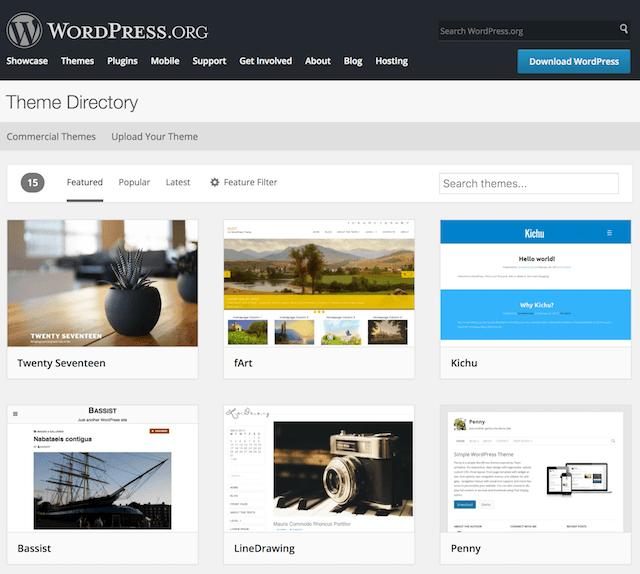 Elenco delle directory dei temi di WordPress.org