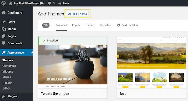 WordPress Theme Upload Option