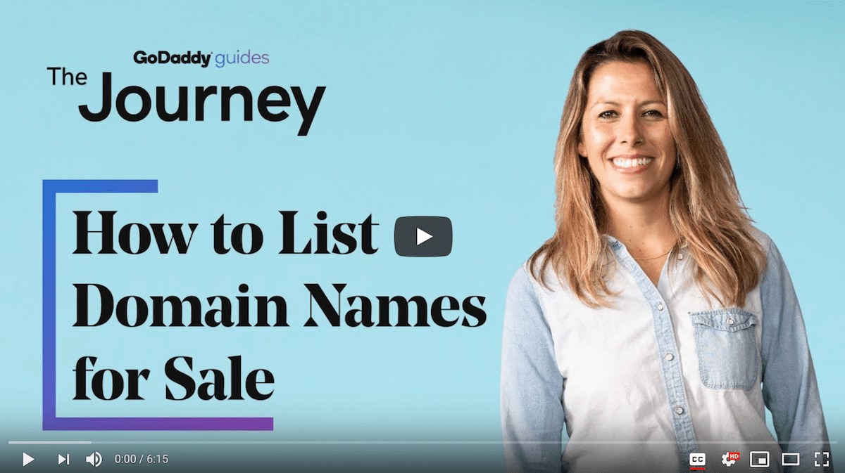 How to List Domain Names for Sale Journey Video