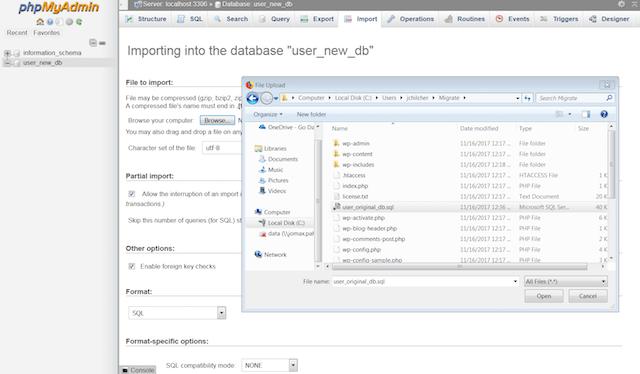 Updating Database Settings in phpMyAdmin