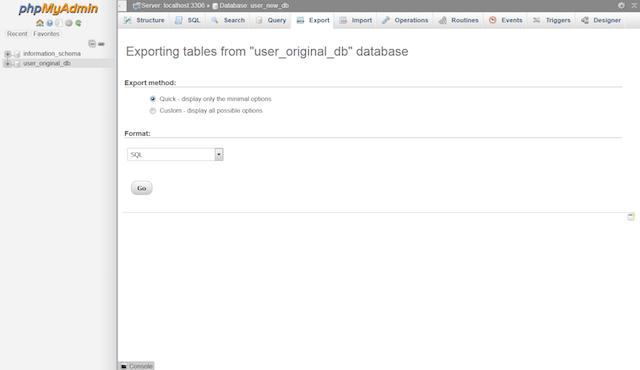 phpMyAdmin Export MySQL Option