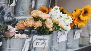 How To Price Products Buckets of Flowers with Price Tags