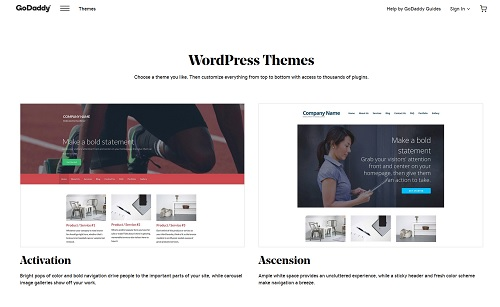 Screenshot Of GoDaddy WordPress Themes
