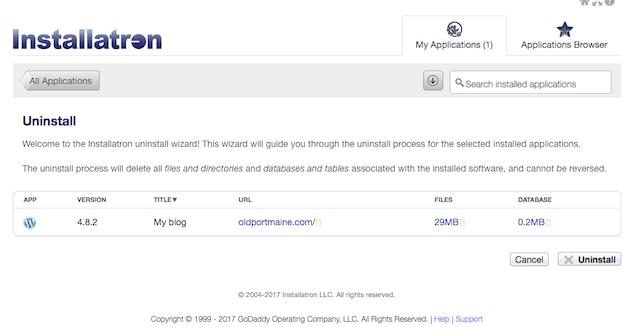 Uninstall WordPress Button