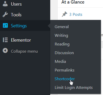 Shortcoder in WordPress Menu