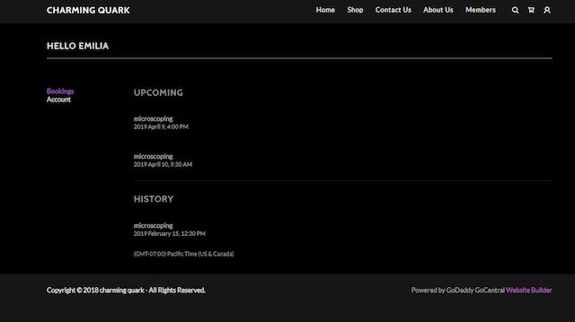 screenshot of a customer account in GoDaddy Website Builder