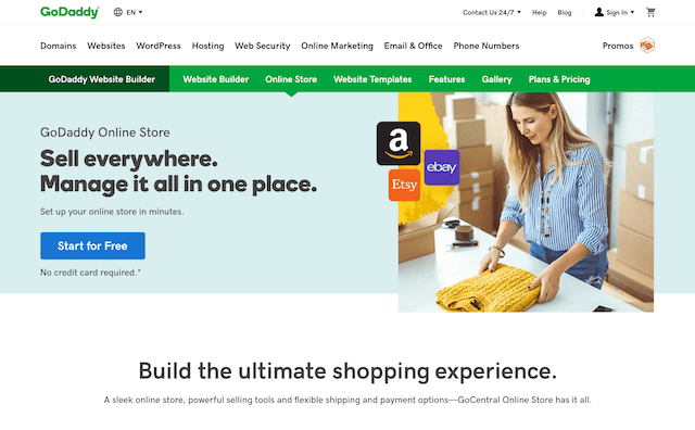 GoDaddy Online Store Homepage