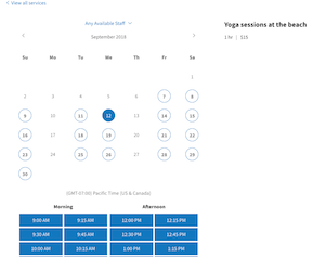 screenshot of improved booking