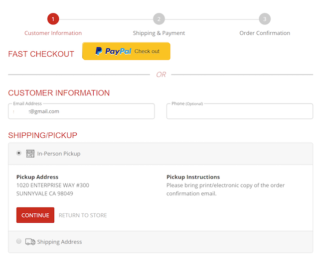 screenshot of in-person pickup option in cart