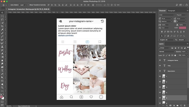 Instagram Photoshop Fill Layout
