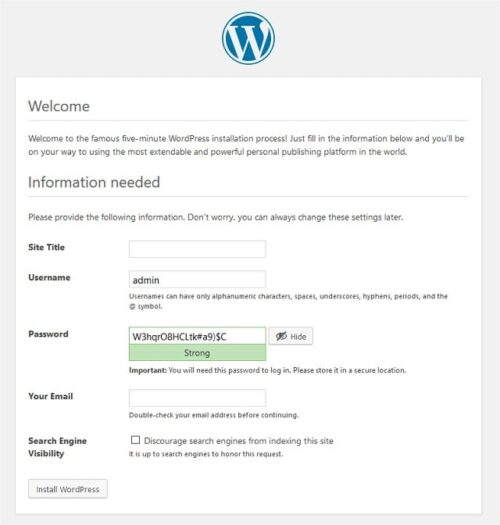 WordPress Installation Process Screen