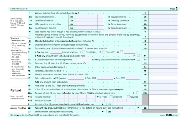 IRS Form 1040 2018 Redesigned