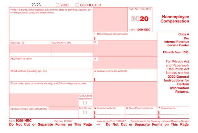 IRS Form 1099 NEC 2020