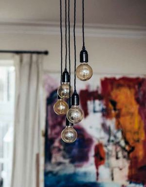 Lightbulbs Hanging from Ceiling